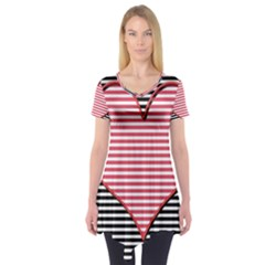 Heart Stripes Symbol Striped Short Sleeve Tunic