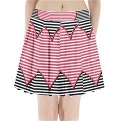 Heart Stripes Symbol Striped Pleated Mini Skirt