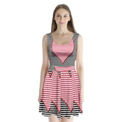 Heart Stripes Symbol Striped Split Back Mini Dress