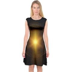 Background Christmas Star Advent Capsleeve Midi Dress