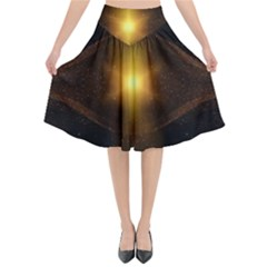 Background Christmas Star Advent Flared Midi Skirt