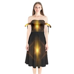 Background Christmas Star Advent Shoulder Tie Bardot Midi Dress
