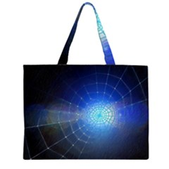 Network Cobweb Networking Bill Zipper Large Tote Bag by Nexatart
