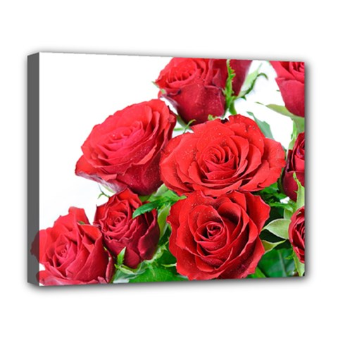 A Bouquet Of Roses On A White Background Deluxe Canvas 20  X 16   by Nexatart