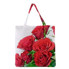 A Bouquet Of Roses On A White Background Grocery Tote Bag