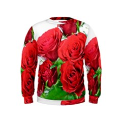 A Bouquet Of Roses On A White Background Kids  Sweatshirt