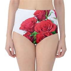A Bouquet Of Roses On A White Background High Waist Bikini Bottoms