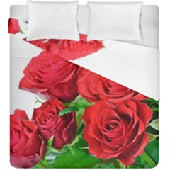 A Bouquet Of Roses On A White Background Duvet Cover Double Side (king Size)