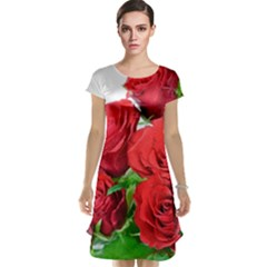A Bouquet Of Roses On A White Background Cap Sleeve Nightdress