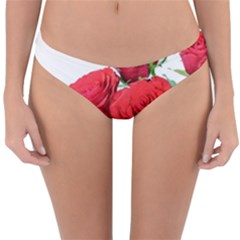 A Bouquet Of Roses On A White Background Reversible Hipster Bikini Bottoms