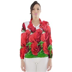 A Bouquet Of Roses On A White Background Wind Breaker (women)