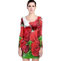 A Bouquet Of Roses On A White Background Long Sleeve Velvet Bodycon Dress