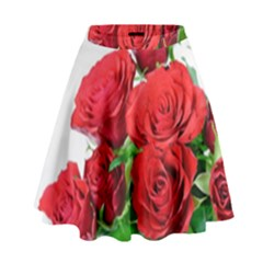 A Bouquet Of Roses On A White Background High Waist Skirt by Nexatart