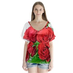 A Bouquet Of Roses On A White Background Flutter Sleeve Top