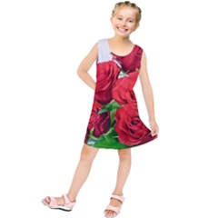 A Bouquet Of Roses On A White Background Kids  Tunic Dress
