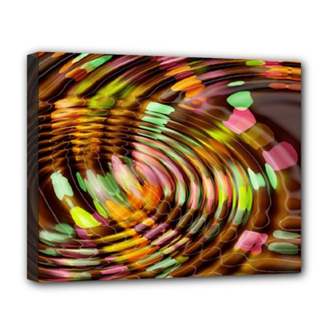 Wave Rings Circle Abstract Deluxe Canvas 20  X 16   by Nexatart
