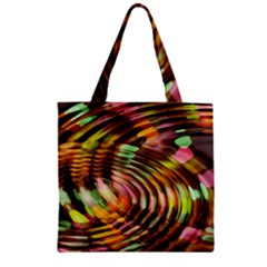 Wave Rings Circle Abstract Zipper Grocery Tote Bag by Nexatart