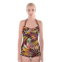 Wave Rings Circle Abstract Boyleg Halter Swimsuit