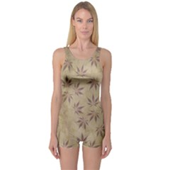 Parchment Paper Old Leaves Leaf One Piece Boyleg Swimsuit