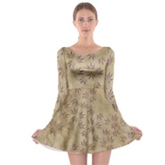 Parchment Paper Old Leaves Leaf Long Sleeve Skater Dress
