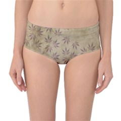 Parchment Paper Old Leaves Leaf Mid Waist Bikini Bottoms