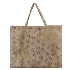 Parchment Paper Old Leaves Leaf Zipper Large Tote Bag by Nexatart