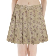 Parchment Paper Old Leaves Leaf Pleated Mini Skirt