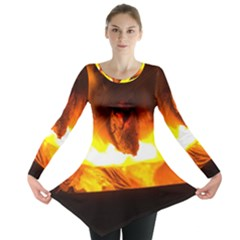 Fire Rays Mystical Burn Atmosphere Long Sleeve Tunic