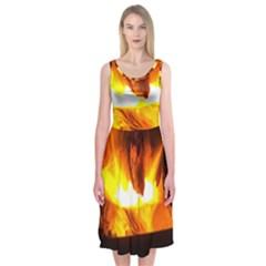 Fire Rays Mystical Burn Atmosphere Midi Sleeveless Dress