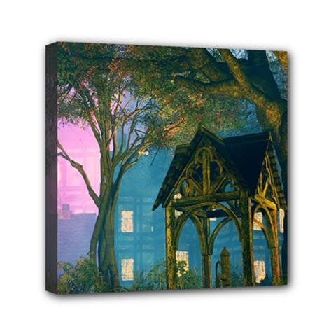 Background Forest Trees Nature Mini Canvas 6  X 6  by Nexatart