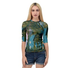 Background Forest Trees Nature Quarter Sleeve Tee
