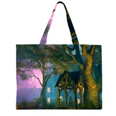 Background Forest Trees Nature Zipper Large Tote Bag