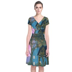 Background Forest Trees Nature Short Sleeve Front Wrap Dress