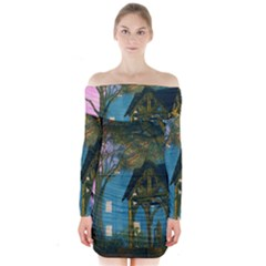 Background Forest Trees Nature Long Sleeve Off Shoulder Dress