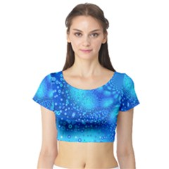 Bokeh Background Light Reflections Short Sleeve Crop Top (tight Fit)