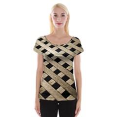 Texture Wood Flooring Brown Macro Women s Cap Sleeve Top
