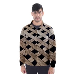 Texture Wood Flooring Brown Macro Wind Breaker (men)