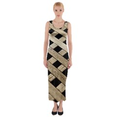 Texture Wood Flooring Brown Macro Fitted Maxi Dress