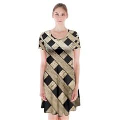 Texture Wood Flooring Brown Macro Short Sleeve V Neck Flare Dress by Nexatart