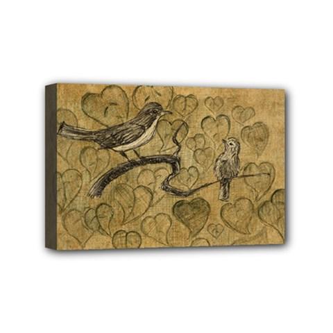 Birds Figure Old Brown Mini Canvas 6  X 4