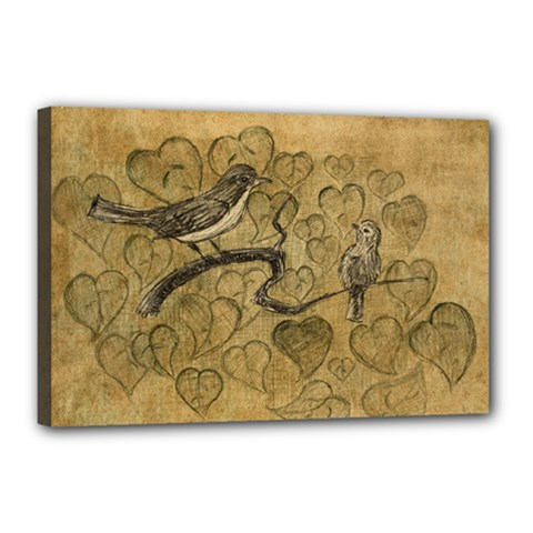 Birds Figure Old Brown Canvas 18  X 12
