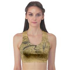 Birds Figure Old Brown Sports Bra