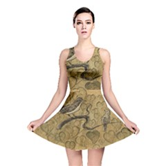 Birds Figure Old Brown Reversible Skater Dress
