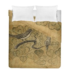 Birds Figure Old Brown Duvet Cover Double Side (full/ Double Size)