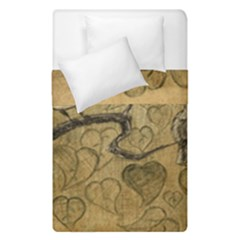 Birds Figure Old Brown Duvet Cover Double Side (single Size) by Nexatart