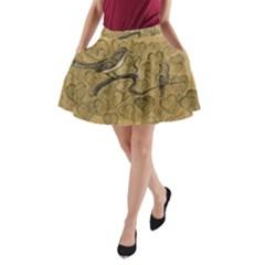 Birds Figure Old Brown A Line Pocket Skirt by Nexatart