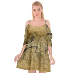 Birds Figure Old Brown Cutout Spaghetti Strap Chiffon Dress