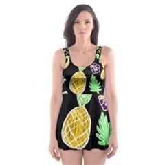 Tropical Pattern Skater Dress Swimsuit