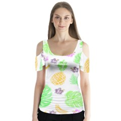 Tropical Pattern Butterfly Sleeve Cutout Tee  by Valentinaart