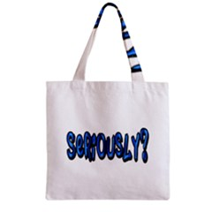 Seriously Zipper Grocery Tote Bag by Valentinaart